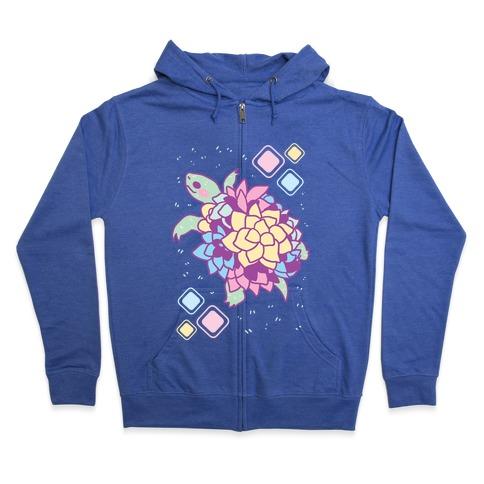 Pastel Succulent Turtle Zip Hoodie