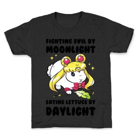 Fighting Evil By Moonlight Eating Lettuce By Daylight Kids T-Shirt