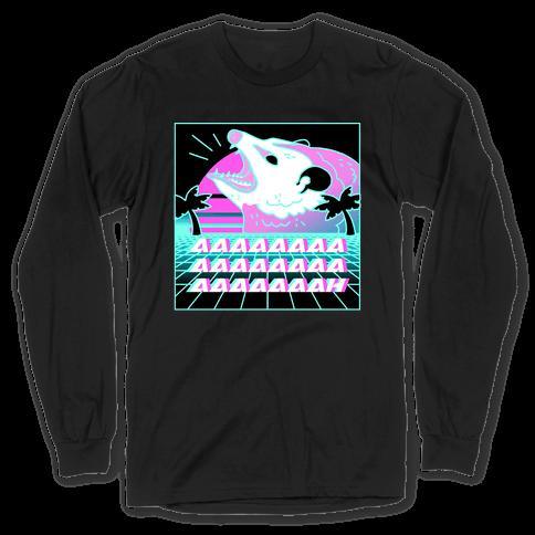 Screaming Retrowave Possum Long Sleeve T-Shirt