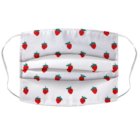 Dainty Strawberry Pattern White Accordion Face Mask