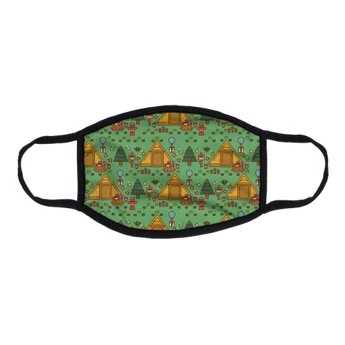 Yellow Tent Glamping Pattern Green Flat Face Mask