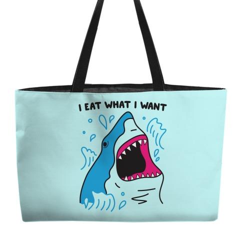 I Eat What I Want Shark Weekender Tote