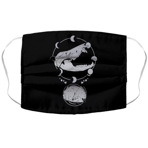 Occult Trash Possum White Print Face Mask Cover