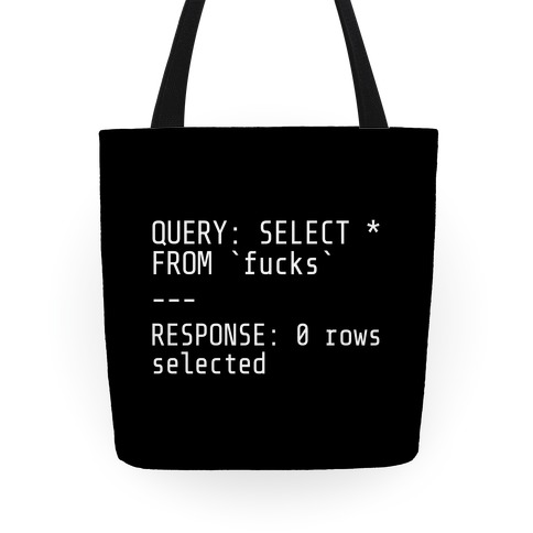 QUERY: SELECT* FROM 'F***s' -- RESPONSE: 0 rows selected Tote