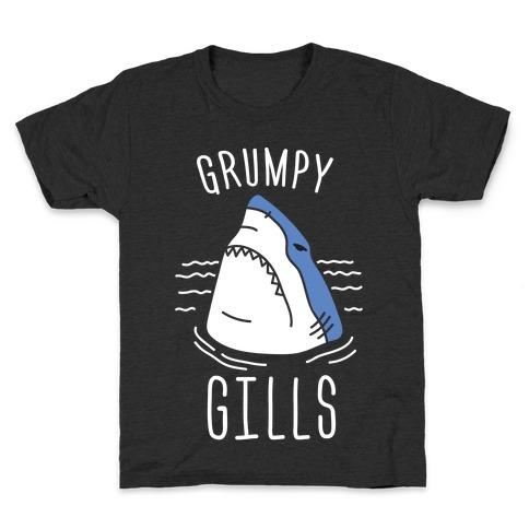 Grumpy Gills Shark (White) Kids T-Shirt