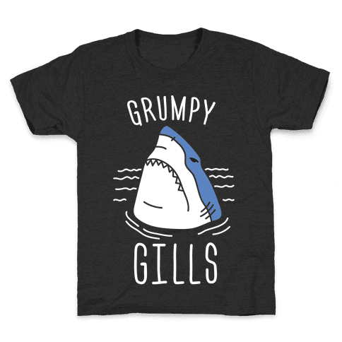 Grumpy Gills Shark (White) Kids T-Shirt