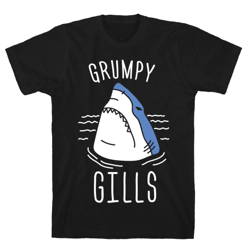 Grumpy Gills Shark (White) Mens T-Shirt