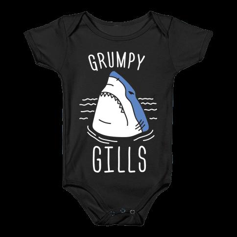 Grumpy Gills Shark (White) Baby Onesy