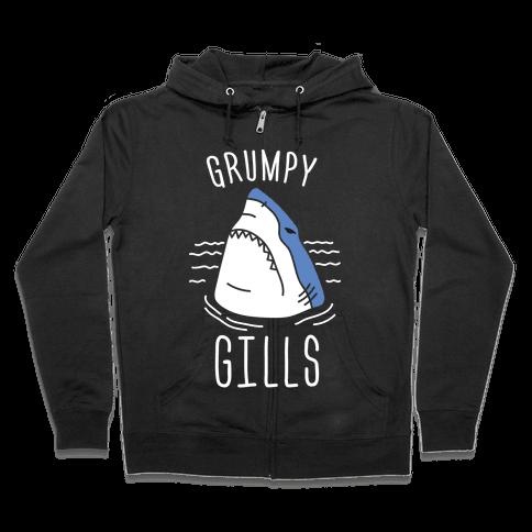 Grumpy Gills Shark (White) Zip Hoodie