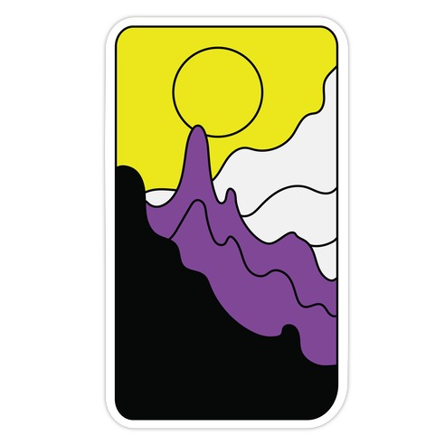 Groovy Pride Flag Landscapes: Nonbinary Flag Die Cut Sticker
