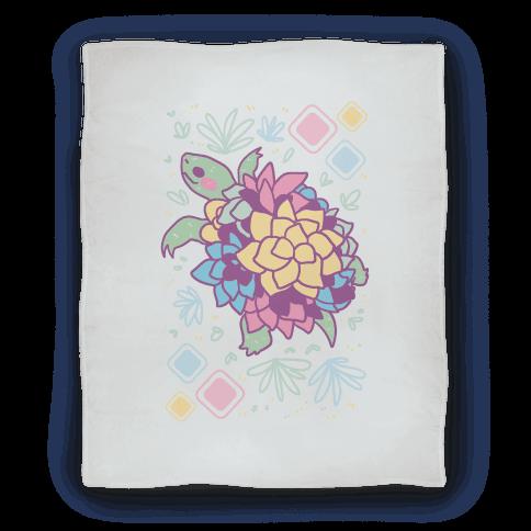 Pastel Succulent Turtle Blanket