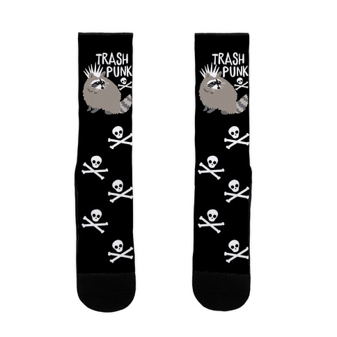 Trash Punk Raccoon Sock