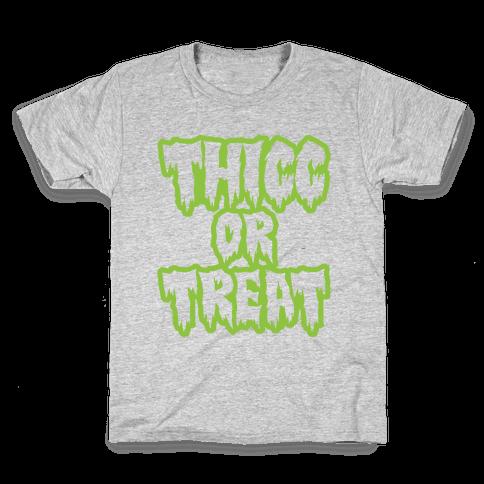 Thicc Or Treat White Print Kids T-Shirt