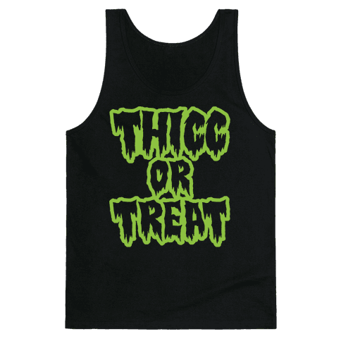 Thicc Or Treat White Print Tank Top