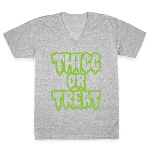 Thicc Or Treat White Print V-Neck Tee Shirt