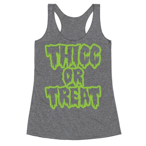 Thicc Or Treat White Print Racerback Tank Top