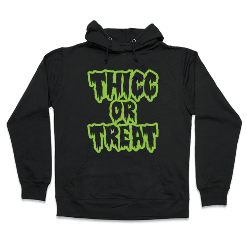 Thicc Or Treat White Print Hooded Sweatshirt