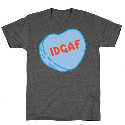IDGAF Conversation Heart Parody White Print T-Shirt