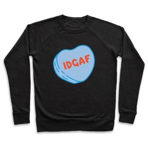 IDGAF Conversation Heart Parody White Print Pullover