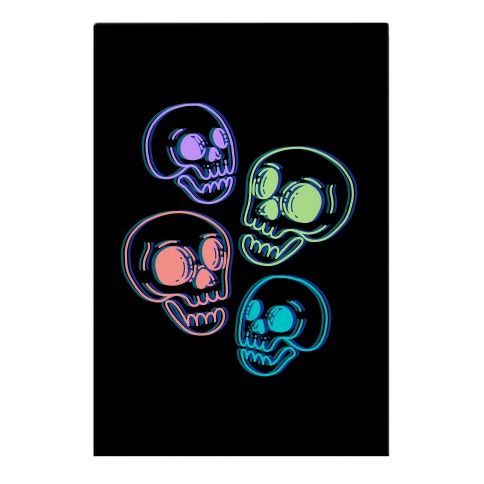 Pastel Skulls Glitch Garden Flag
