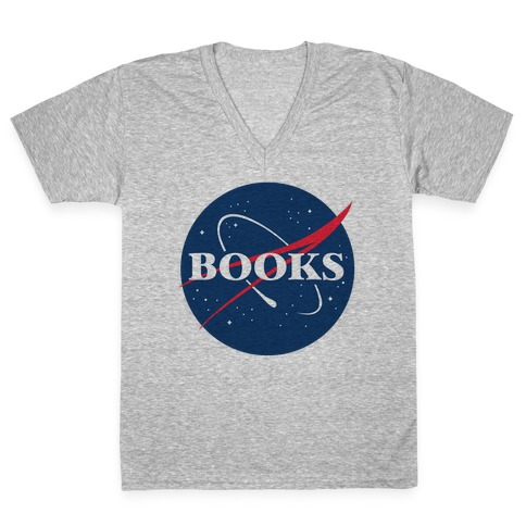 Books Nasa Parody V-Neck Tee Shirt