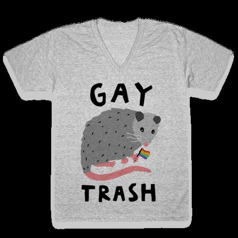 Gay Trash Opossum V-Neck Tee Shirt