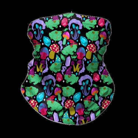 Magical Mushroom Frogs Pattern Neck Gaiter