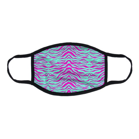 Tiger Stripe Hot Pink and Mint Pattern Flat Face Mask
