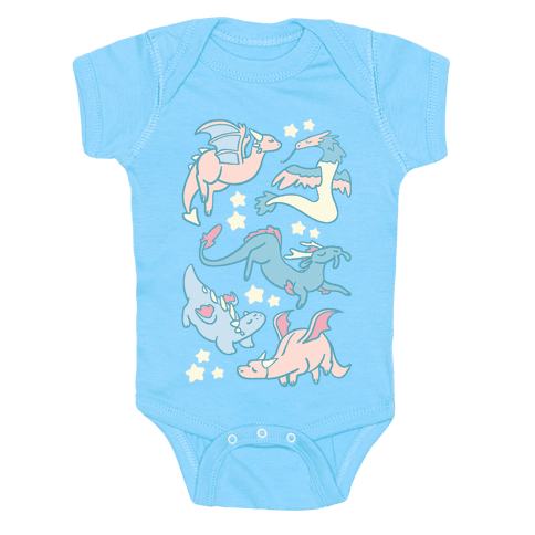 Dreamy Dragon Pattern Baby Onesy