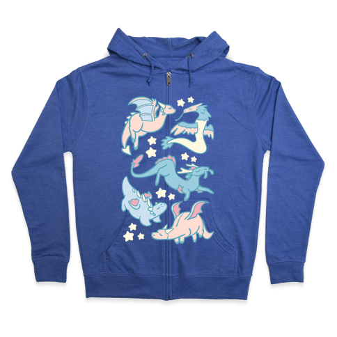 Dreamy Dragon Pattern Zip Hoodie