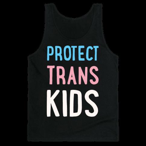 Protect Trans Kids White Print Tank Top
