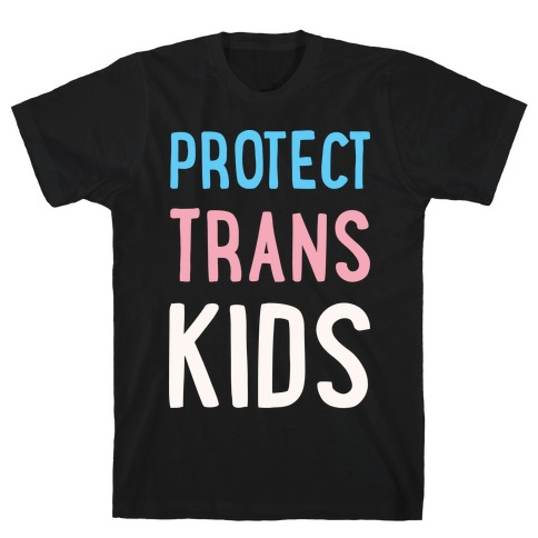 Protect Trans Kids White Print Mens T-Shirt