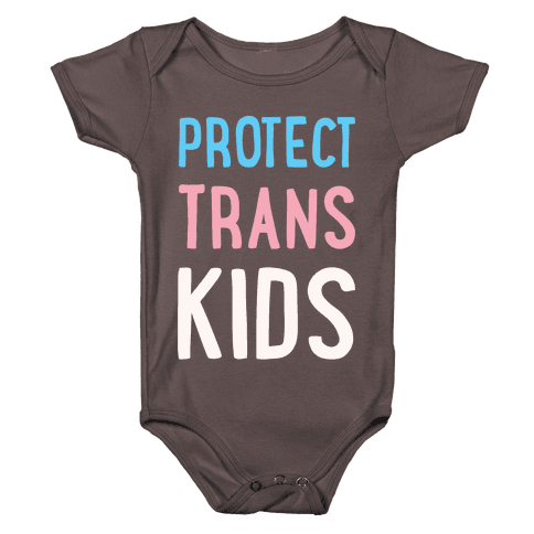 Protect Trans Kids White Print Baby One-Piece