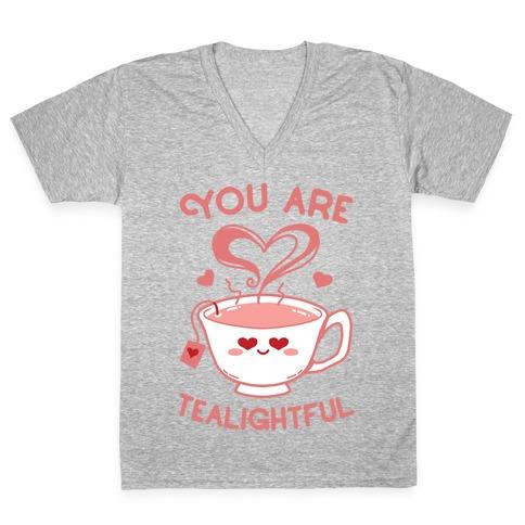 You Are Tealightful  V-Neck Tee Shirt
