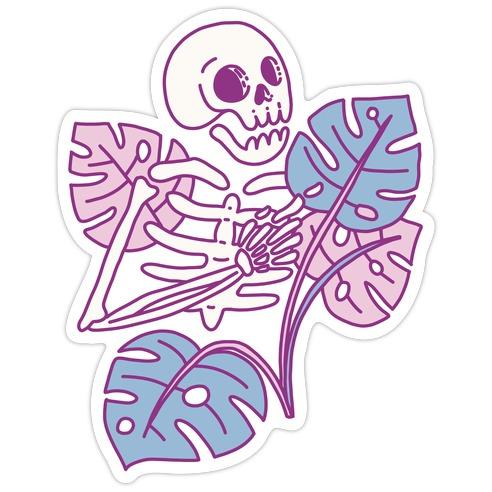 Monstera Skeleton Die Cut Sticker