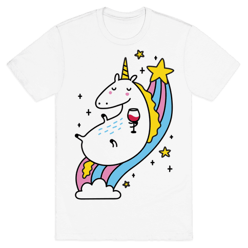Unicorn Drinking Wine On Rainbow Mens T-Shirt