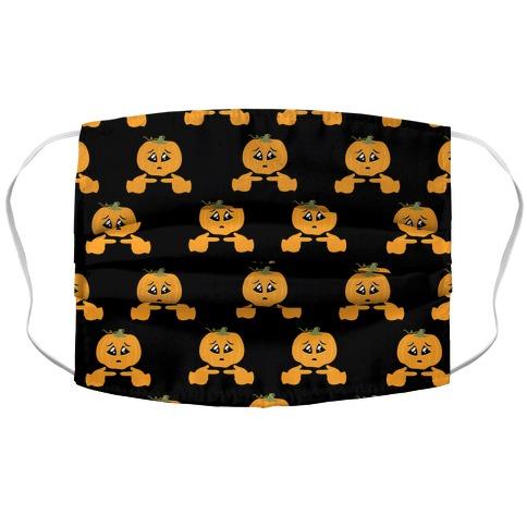 Shy Emoji Jack-o-Lantern Accordion Face Mask