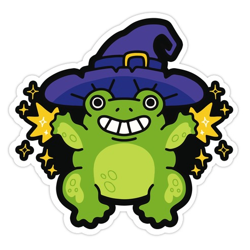 Magical Frog Witch Die Cut Sticker
