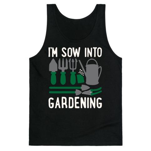 I'm Sow Into Gardening White Print Tank Top