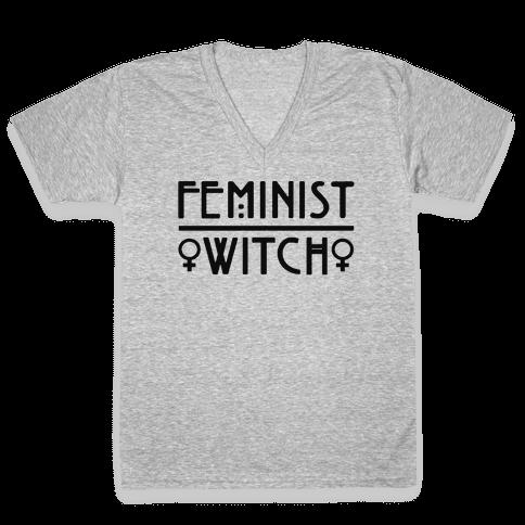 Feminist Witch V-Neck Tee Shirt