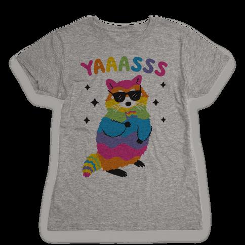 Yas Rainbow Raccoon Womens T-Shirt