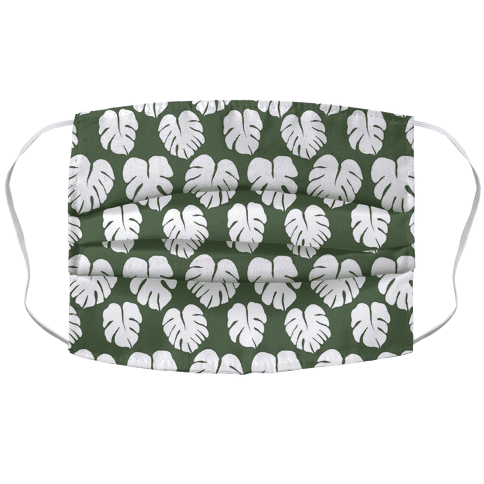 Monstera Simple Boho Pattern Green and White Accordion Face Mask