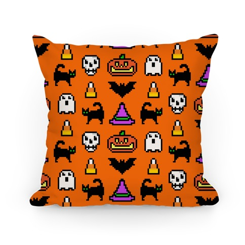 Pixel Halloween Pattern Pillow
