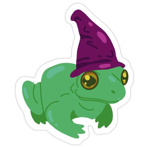 Purple Hat Magical Mushroom Frog Die Cut Sticker
