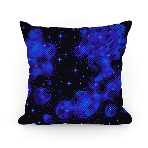 Pixelated Blue Nebula Pillow