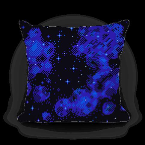 Pixelated Blue Nebula Pillow