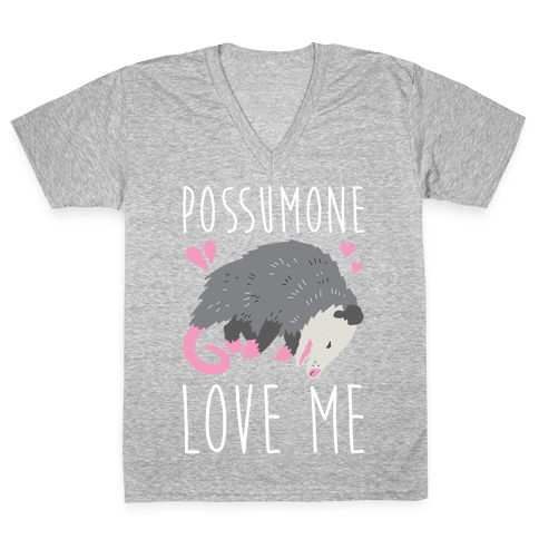 Possumone Love Me Opossum V-Neck Tee Shirt