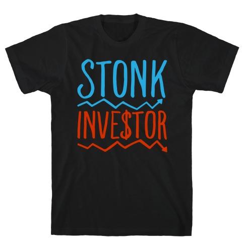 Stonk Investor Parody White Print T-Shirt