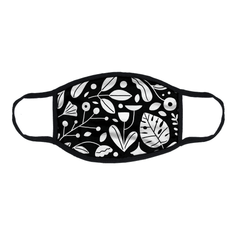 Black and White Plant Pattern Flat Face Mask