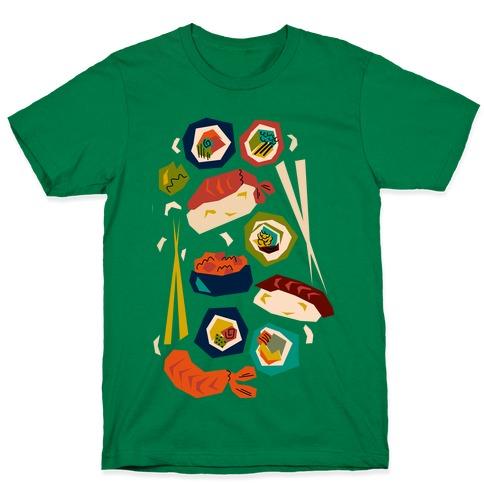 Mid-Century Modern Sushi Pattern T-Shirt